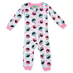 Sesame Street® Best Friends Fun Long Sleeve Coverall in White/Pink