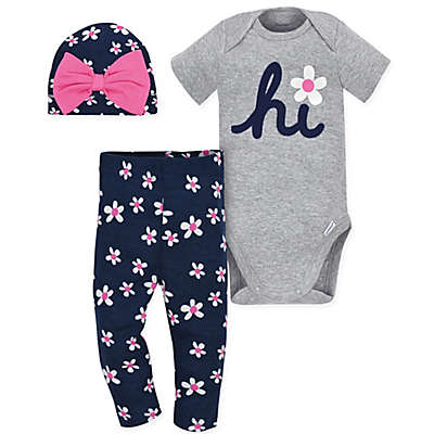 Gerber® Onesies® 3-Piece Daisy Bodysuit, Pant and Hat Set in Grey