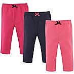 Luvable Friends® Size 0-3M 3-Pack Leggings in Dark Pink/Navy