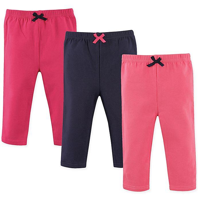 Alternate image 1 for Luvable Friends® 3-Pack Leggings in Dark Pink/Navy