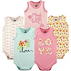 """Luvable Friends® Size 0-3M 5-Pack """"Love"""" Sleeveless Bodysuits in Pink"""