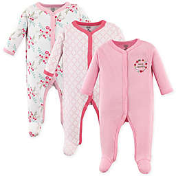 Luvable Friends® Size 6-9M Floral 3-Pack Footies in Pink