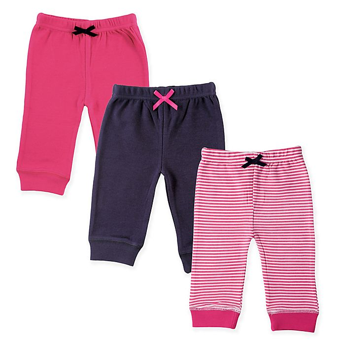 Alternate image 1 for Luvable Friends® 3-Pack Stripe Pants in Pink