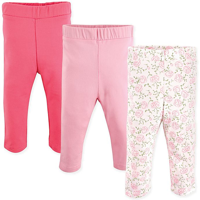 Alternate image 1 for Luvable Friends® 3-Pack Rose Leggings in Pink