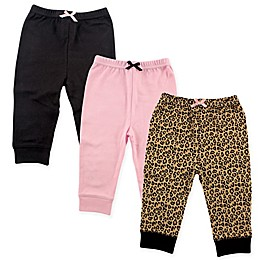 Luvable Friends® 3-Pack Leopard Pants in Black/Pink