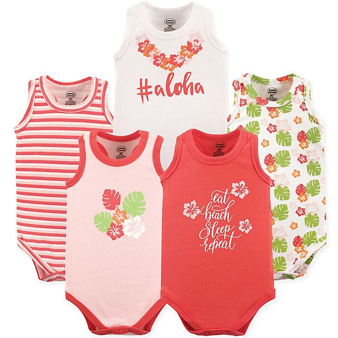 Alternate image 1 for Luvable Friends® 5-Pack Aloha Bodysuits in Pink/Coral