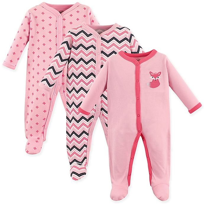 Alternate image 1 for Luvable Friends® 3-Pack Foxy Snap-Front Sleep N Play Coveralls in Dark Pink