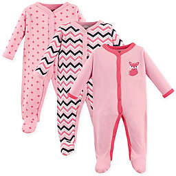 Luvable Friends® Size 6-9M 3-Pack Foxy Snap-Front Sleep N Play Coveralls in Dark Pink