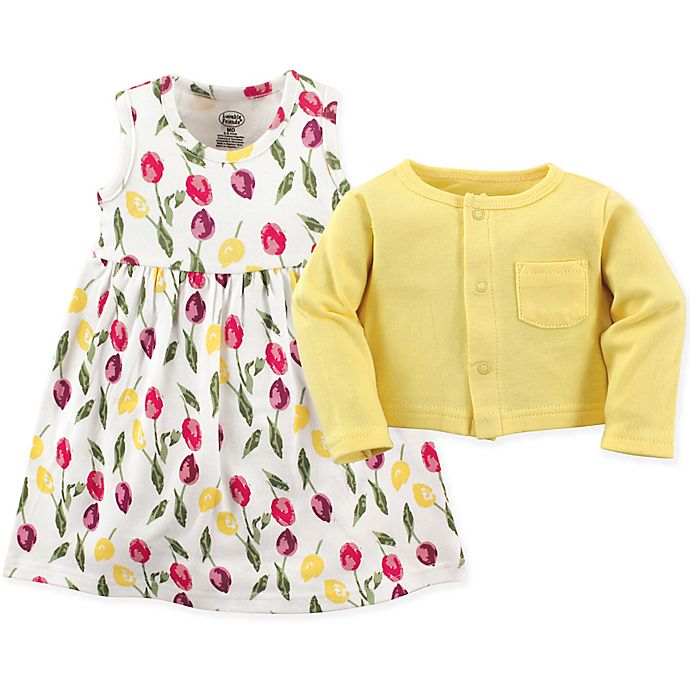 Alternate image 1 for Luvable Friends® 2-Piece Floral Dress and Cardigan Set
