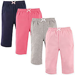 Luvable Friends® Size 9-12M 4-Pack Solid Pants in Pink/Black