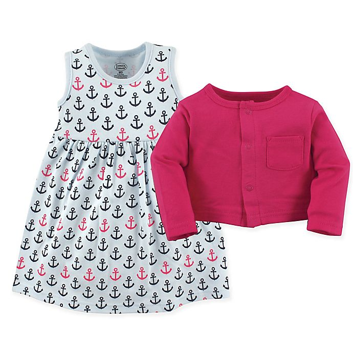 Alternate image 1 for Luvable Friends® 2-Piece Anchor Dress and Cardigan Set