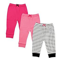 Luvable Friends® 3-Pack Stripe Pants in Black/Pink
