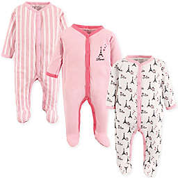 Luvable Friends® Size 0-3M 3-Pack Paris Footies in Pink