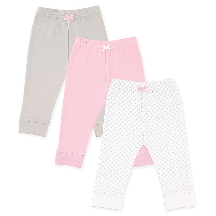 Alternate image 1 for Luvable Friends® 3-Pack Polka Dot Pants in Grey/Pink