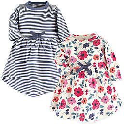 Touched by Nature Long-Sleeve Floral Stripe 2-Pack Organic Cotton Dresses