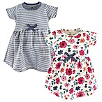 Touched by Nature Size 6-9M Floral Stripe 2-Pack Organic Cotton Dresses in Blue