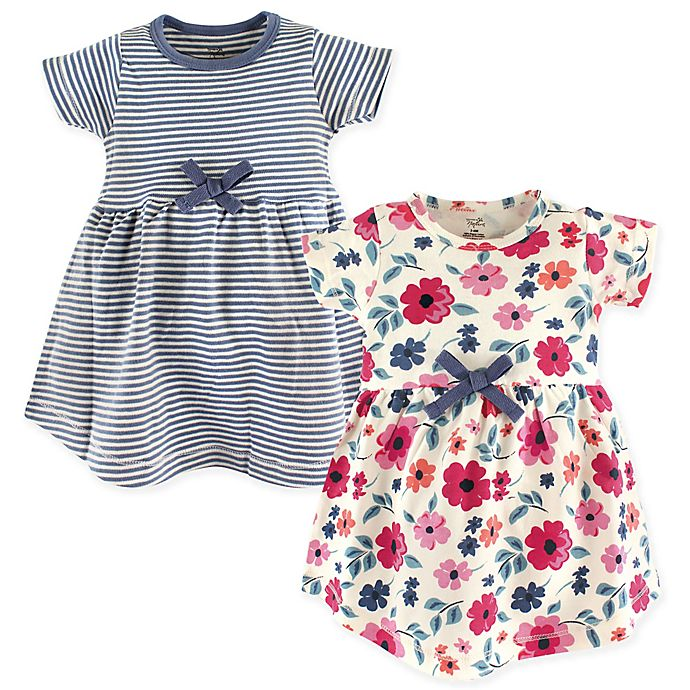 Alternate image 1 for Touched by Nature Floral Stripe 2-Pack Organic Cotton Dresses in Blue