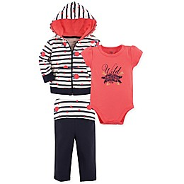 Yoga Sprout 3-Piece Wild Rose Jacket, Bodysuit and Pant Set in Coral/Black