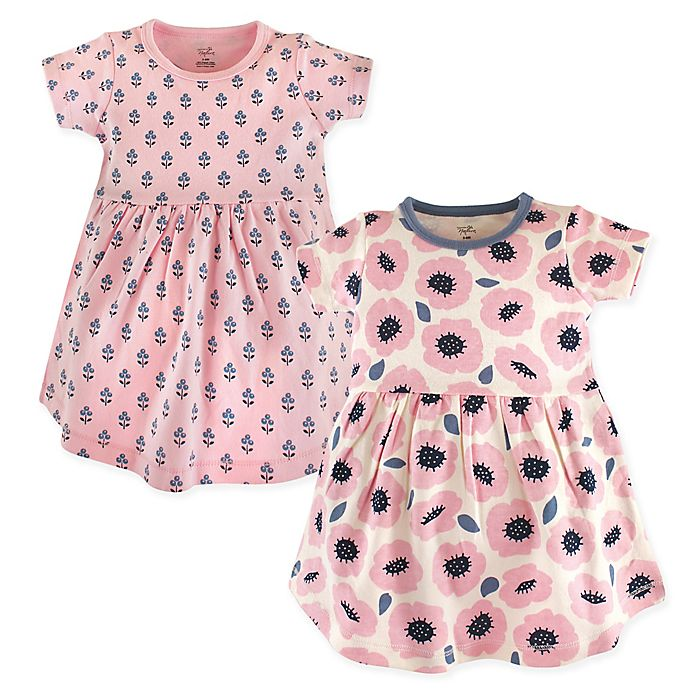 Alternate image 1 for Touched by Nature Size 9-12M Blossoms 2-Pack Organic Cotton Dresses in Pink