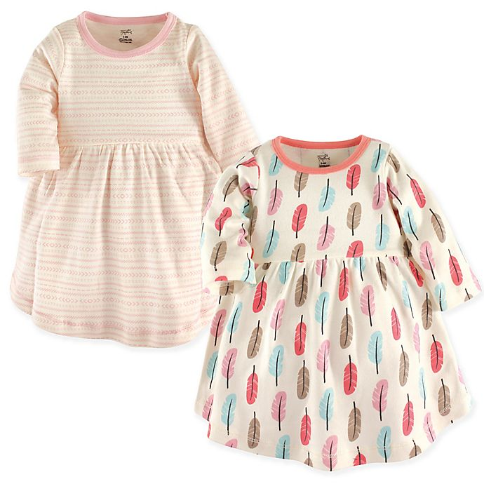 Alternate image 1 for Touched by Nature Feathers 2-Pack Organic Cotton Dresses in Coral