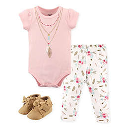 Little Treasure Feathers Bodysuit, Pant, and Shoe Set in Pink