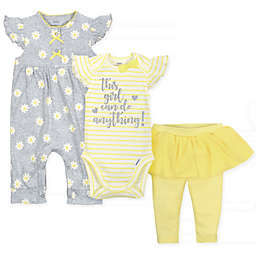 Gerber Onesies® 3-Pack Daisies Coverall, Bodysuit, and Pant Set in Grey/Yellow