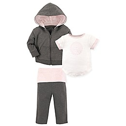 Yoga Sprout 3-Piece Scroll Jacket, Top, and Pant Set in Baby Pink/Grey