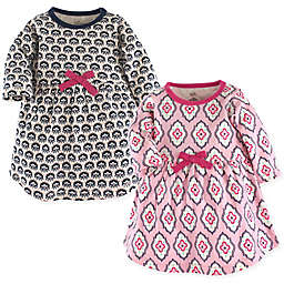 Touched by Nature 2-Pack Trellis Long Sleeve Organic Cotton Dresses in Pink/Black