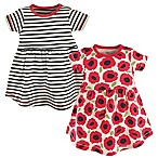 Touched by Nature Size 3-6M 2-Pack Poppy Short Sleeve Organic Cotton Dresses in Black/Red