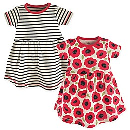 Touched by Nature 2-Pack Poppy Short Sleeve Organic Cotton Dresses in Black/Red
