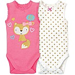 Gerber® Size 3-6M 2-Pack Fox and Hearts Sleeveless Bodysuits in Pink/White