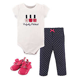 Little Treasure Perfectly Polished Bodysuit, Pant, and Shoe Set in Navy