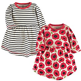 Touched by Nature 2-Pack Poppy Long Sleeve Organic Cotton Dresses in Black/Red