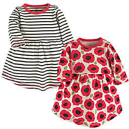 Touched by Nature Size 3T 2-Pack Poppy Long Sleeve Organic Cotton Dresses in Black/Red