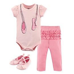 Little Treasures 3-Piece Ballerina Bodysuit, Pant and Shoe Set in Pink
