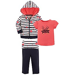 Yoga Sprout 3-Piece Wild Rose Hoodie, Top, and Pant Set in Coral