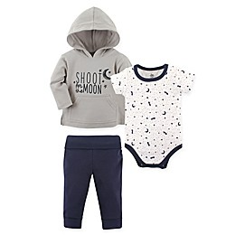 Yoga Sprout 3-Piece Moon Hoodie, Bodysuit, and Pant Set in White/Grey