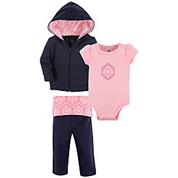 Yoga Sprout 3-Piece Moroccan Hoodie, Top, and Pant Set in Pink