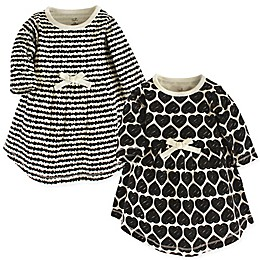 Touched by Nature 2-Pack Hearts Long Sleeve Organic Cotton Dresses in White/Black