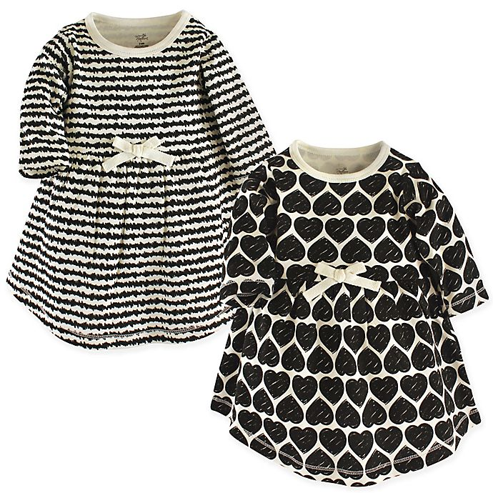 Alternate image 1 for Touched by Nature 2-Pack Hearts Long Sleeve Organic Cotton Dresses in White/Black