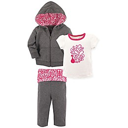 Yoga Sprout 3-Piece Peacock Jacket, Top, and Pant Set in Pink