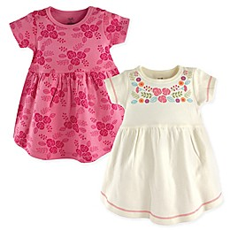 Touched by Nature 2-Pack Bohemian Floral Short Sleeve Dresses in Pink/White