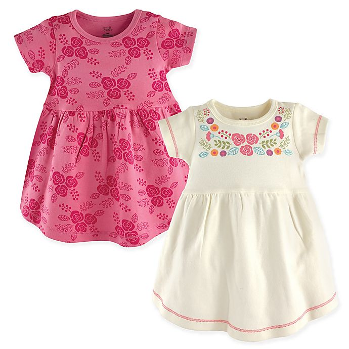 Alternate image 1 for Touched by Nature Size 9-12M 2-Pack Bohemian Floral Short Sleeve Dresses in Pink/White