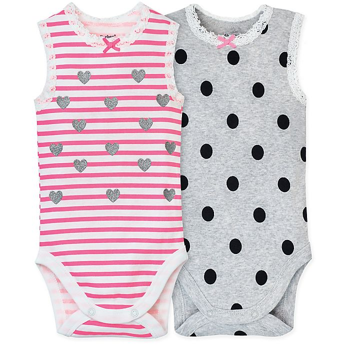 Alternate image 1 for Gerber® Size 18M 2-Pack Sleeveless Bodysuits in Pink/Grey
