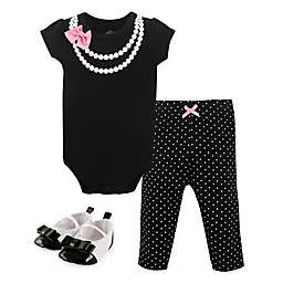 Little Treasures 3-Piece Short Sleeve Pearl Bodysuit, Legging and Shoe Set