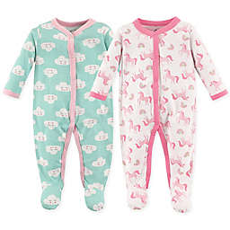 Luvable Friends® Size 6-9M 2-Pack Snap-Front Sleep N Play Coveralls
