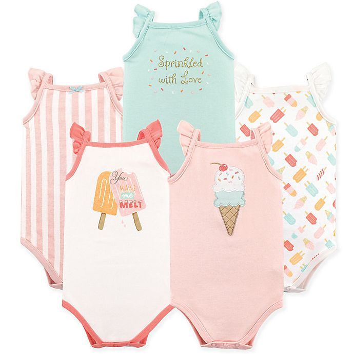 Alternate image 1 for Hudson Baby® 4-Pack Ice Cream Sleeveless Bodysuits