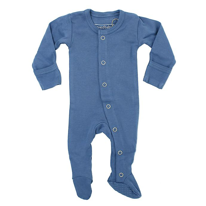 Alternate image 1 for L'ovedbaby® Organic Cotton Footed Overall in Slate