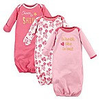 """Luvable Friends® Size 0-6M 3-Pack """"Worth the Wait"""" Infant Gowns in Pink/Yellow"""