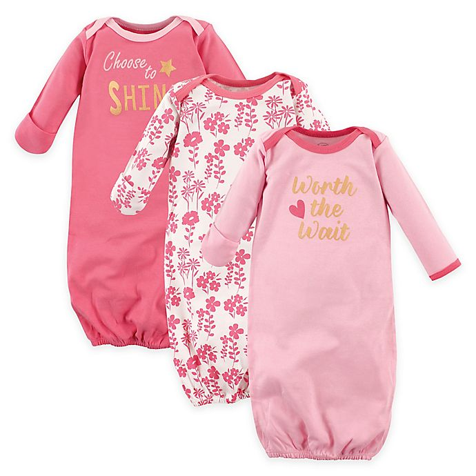 Alternate image 1 for Luvable Friends® Size 0-6M 3-Pack Cotton Girls' Infant Gowns